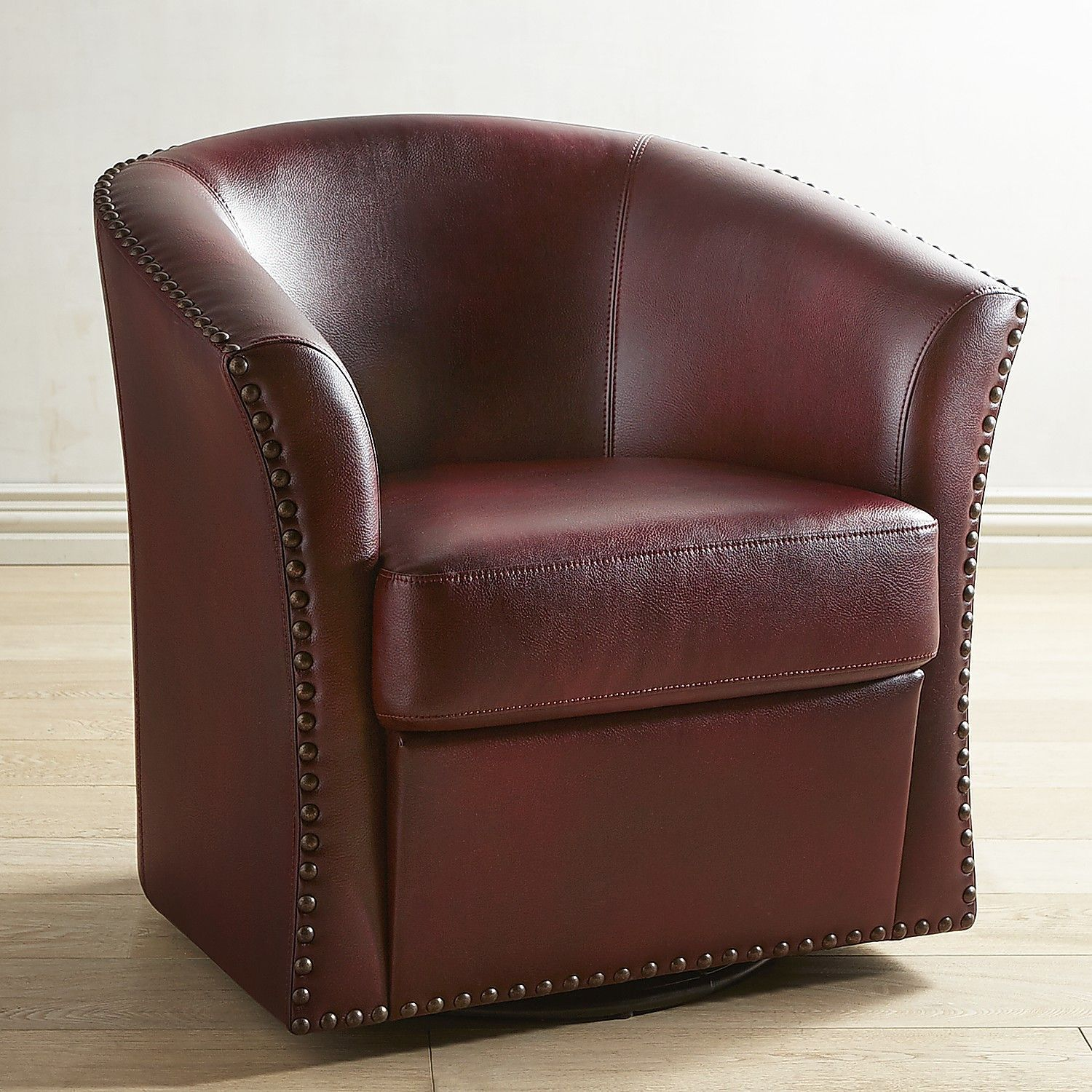 Best Wells Cranberry Red Swivel Chair Burgundy Comfy Leather 640 x 480