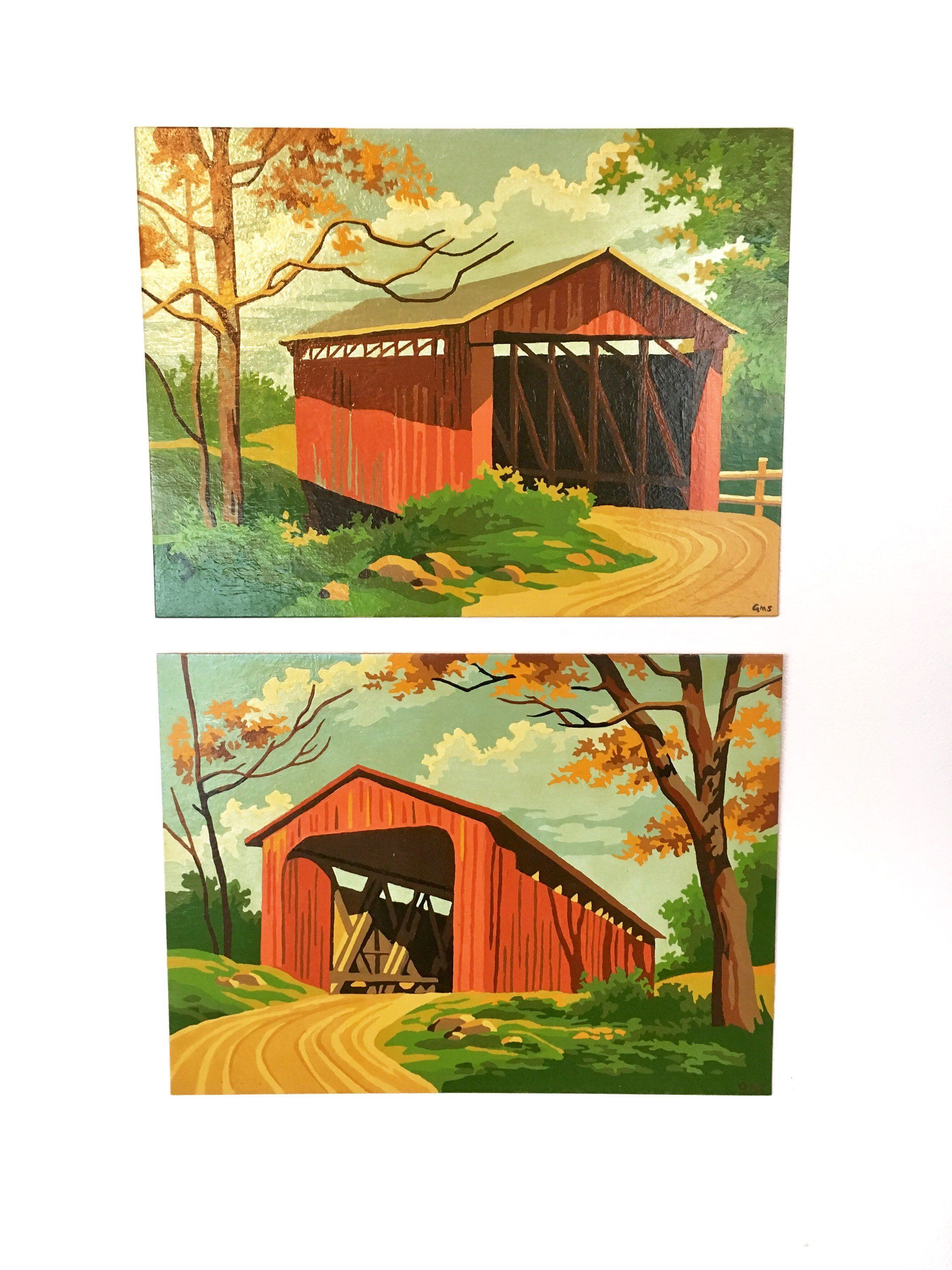 Covered bridges paint by number vintage painting painting