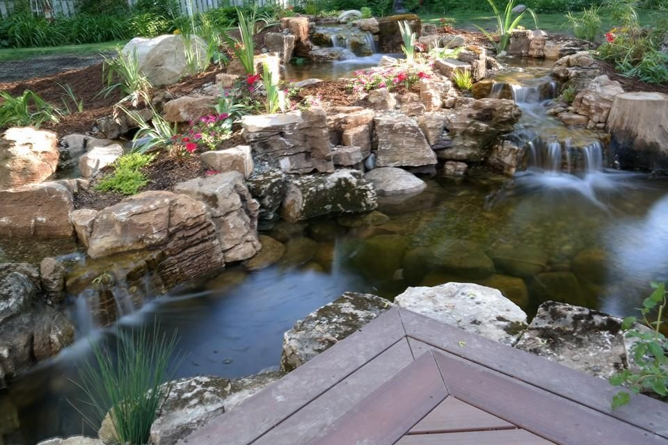 Waterfall created by Living Water Landscape Service in Battle Creek, MI. - Waterfall Created By Living Water Landscape Service In Battle Creek