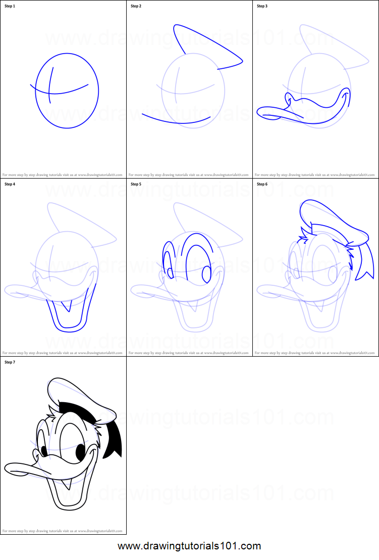 How To Draw Donald Duck Face From Mickey Mouse Clubhouse Printable