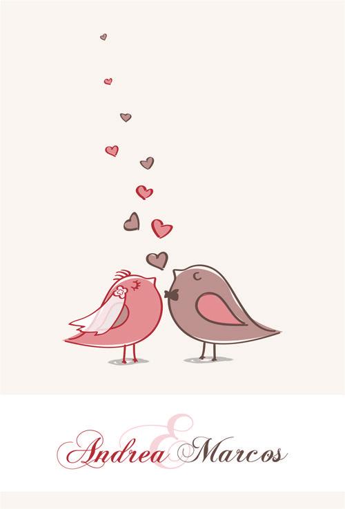 Convite Casal de passarinhos em vetor | moldes | Convites ...