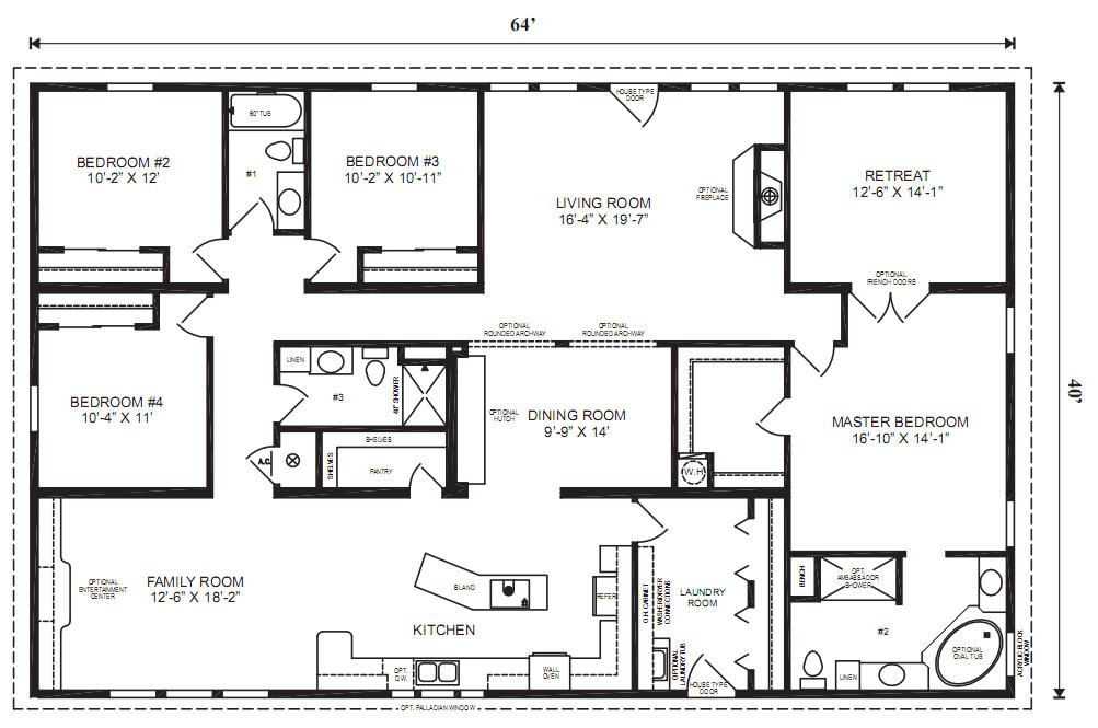 Modular homes floor plans redman homes manufactured and for Mobile home layouts and prices