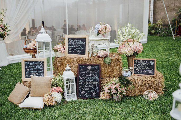 Decoración para una boda rústica - beQbe