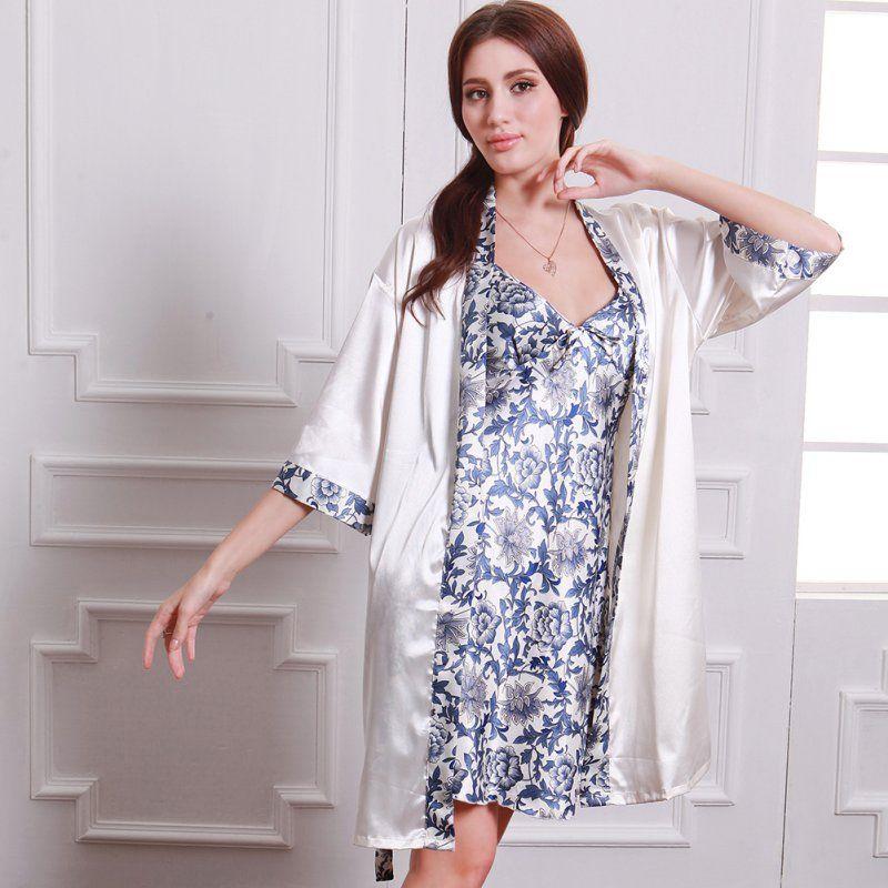 Summer Autumn Long Sleeve Sleepwear Robe Creative Women Sexy Dress Porcelains Ropa Dormir Silk-like Casual  Pajamas Robe Sets