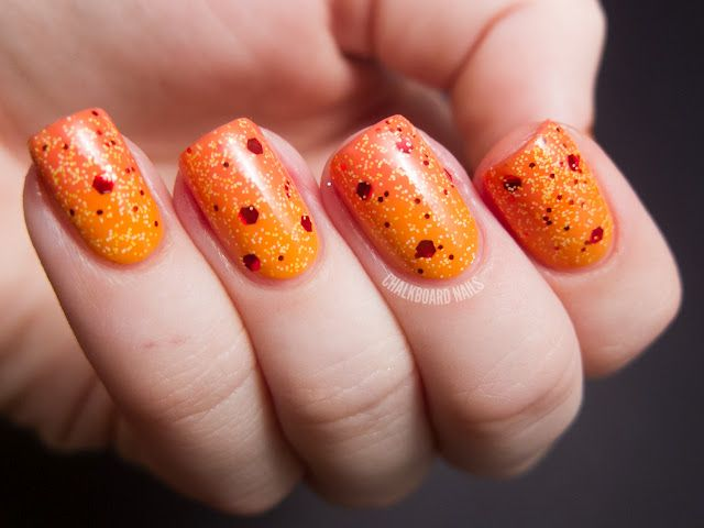 Chalkboard Nails: Surface of the Sun Nails