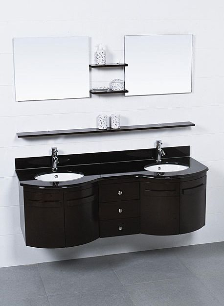 3 Floating Shelves Under The Bathroom Vanity Mirrors