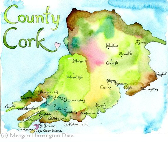 Skibbereen Ireland Map.Map Art Ireland Map County Cork Ireland Fine Art Watercolor