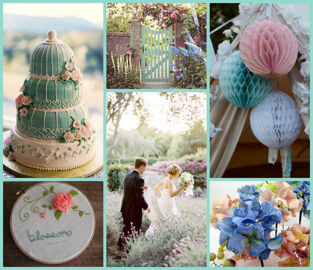 pastel wediings | pastel pink and blue garden wedding | green
