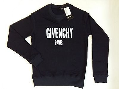 Givenchy Long Sleeve Blue Sweatshirt White Paris Print Holes