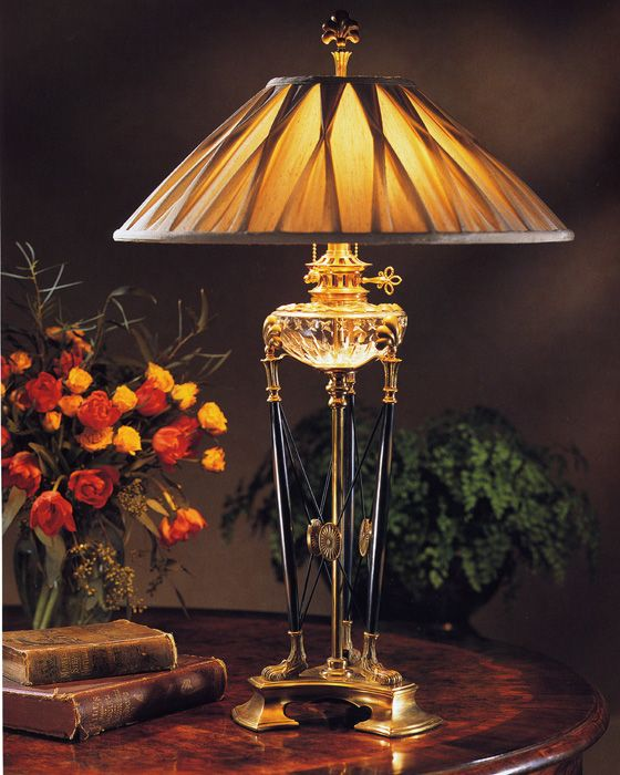 Hand Crafted Solid Brass Table Lamp With Black Accents And Cut Crystal.  This Majestic Table Lamp Is Crafted To The Smallest Details.
