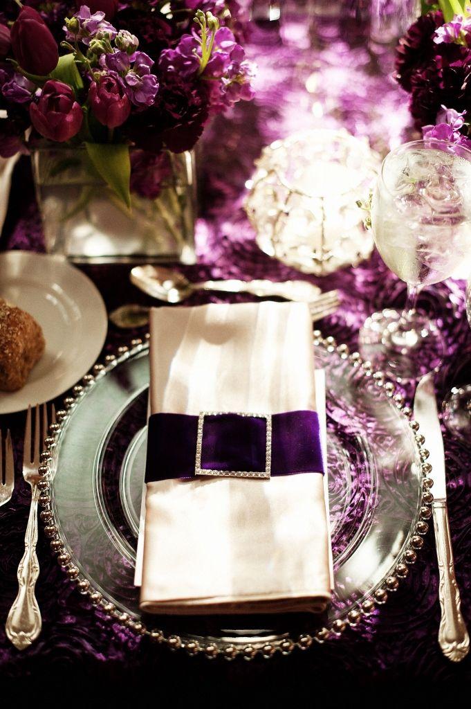 Purple Velvet And Crystal Napkins Wedding Place Settings