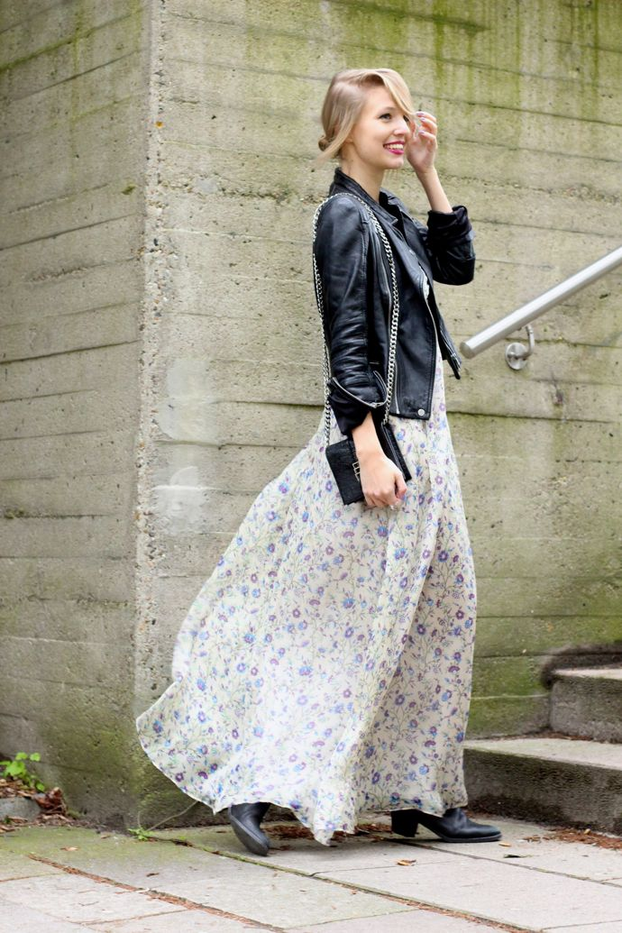 Maxi Dress Floral Print Leather Jacket Biker Boots Fashion Floral Maxi Dress Chic Outfits