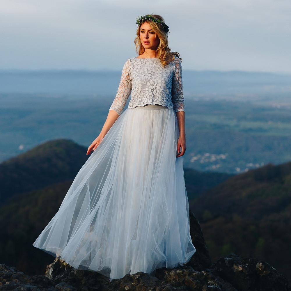 Brautkleid Blau, mit Spitzentop und Tüllrock | Zur hochzeit, Boho ...