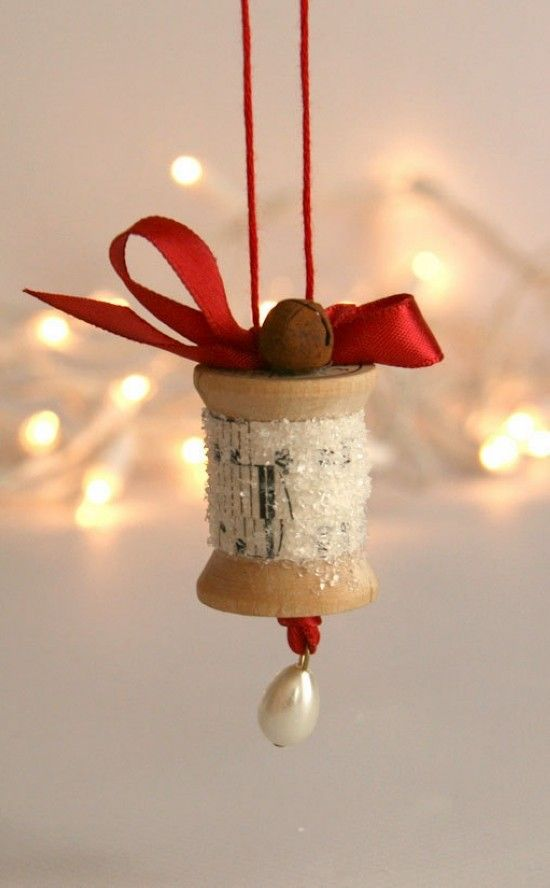 Christmas Craft Ideas 2013 Part - 38: 2013 Red Ribbon Christmas Ornament Crafts, Wooden Spool Christmas Ornament,  Vintage Sheet Music Ornament