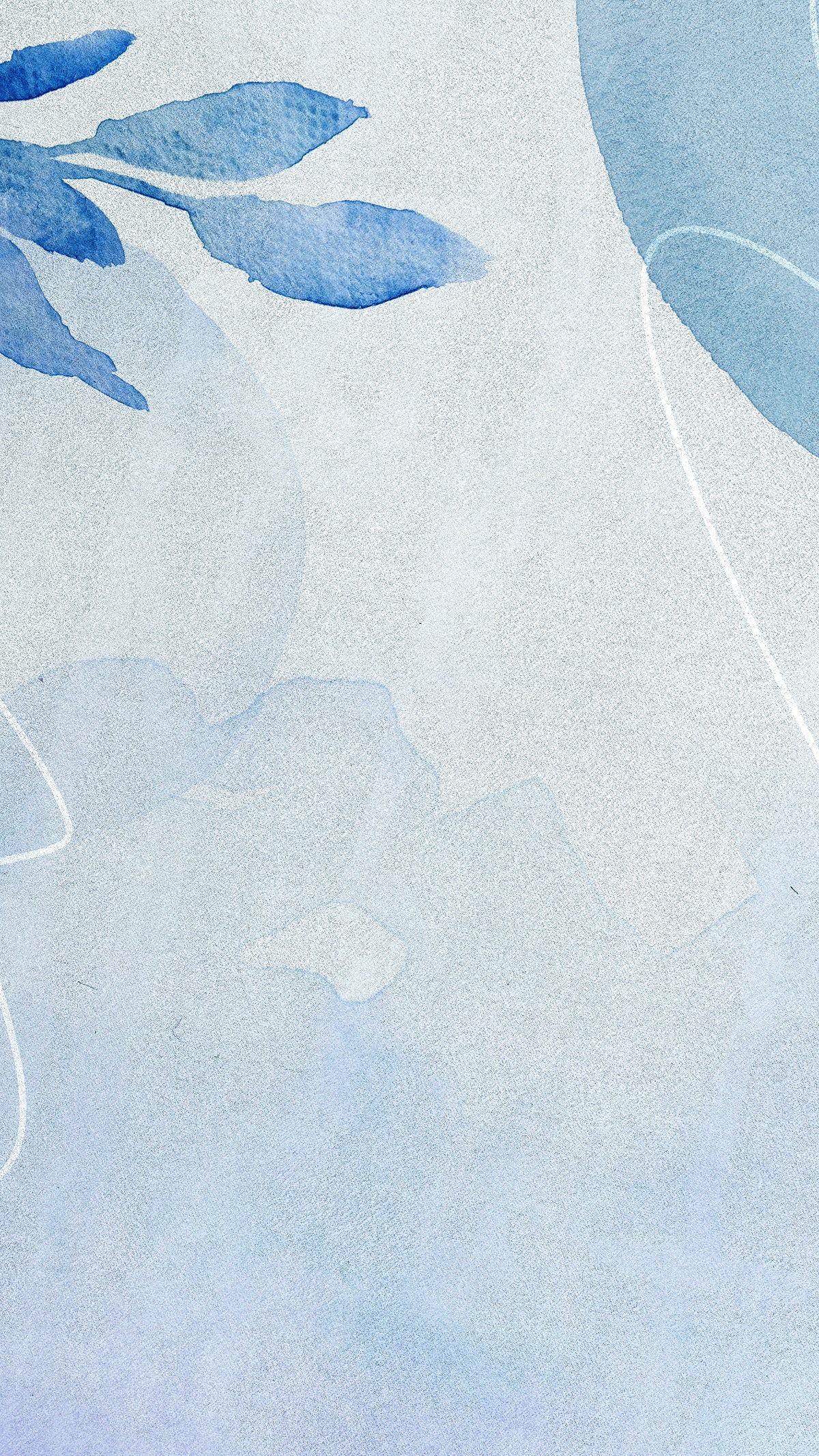 Download premium illustration of Blue watercolor Memphis mobile wallpaper