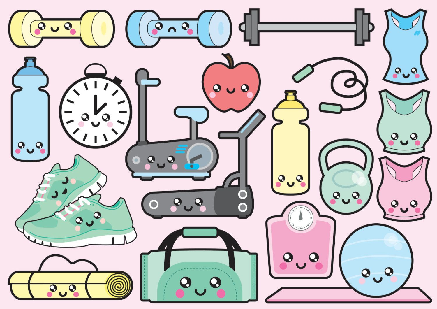 Cute Watercolor Olumpic Sports Equipment Background Vector: Kawaii Workout Clipart