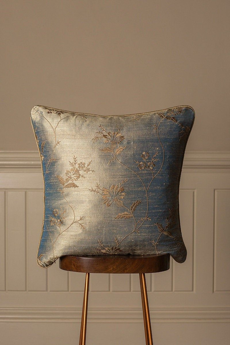Large Embroidered Silk Cushion In Narnia Blue And Gold Luxury Bedroom Sofa Cushions Bed Cushions Wedding Gift Handmade In Uk Silk Cushions Cushions On Sofa Bed Cushions