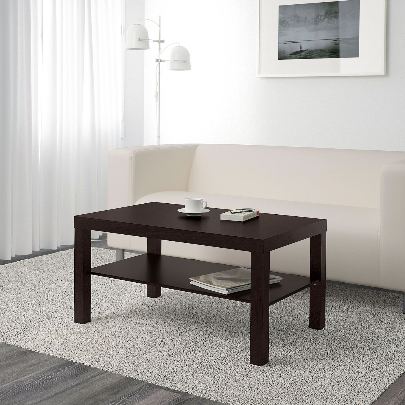 Ikea Couchtisch Mit Glas Lack Coffee Table, Black-brown, 353/8x215/8\