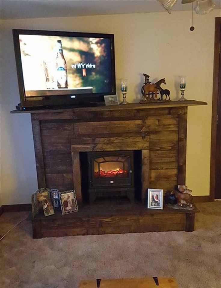 Pallet Fireplace With Tv Stand Chimeneas De Madera Chimenea De Imitacion Muebles Con Tarimas