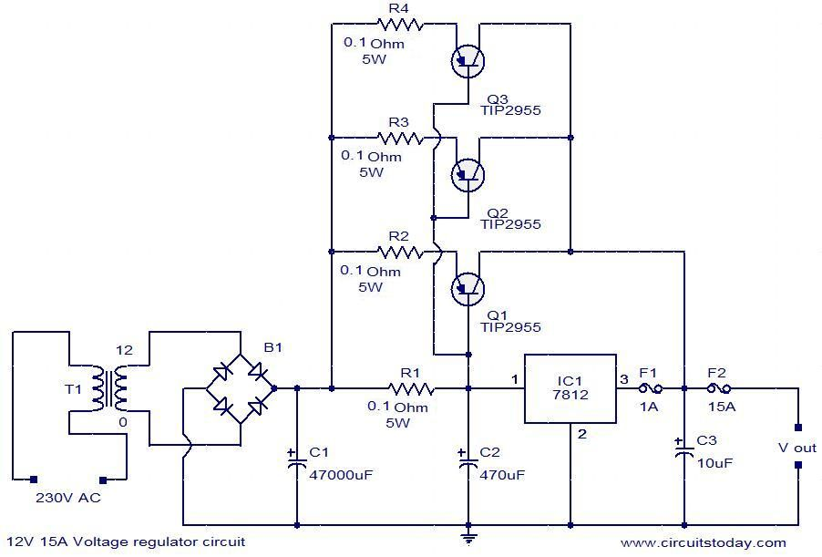 Description Here Is The Circuit Diagram Of A Powerful 12v Regulator That Can Deliver Up To 15 A Of Cur Voltage Regulator Circuit Diagram Electronic Schematics
