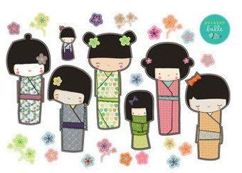 prachtige muursticker Kokeshi familie