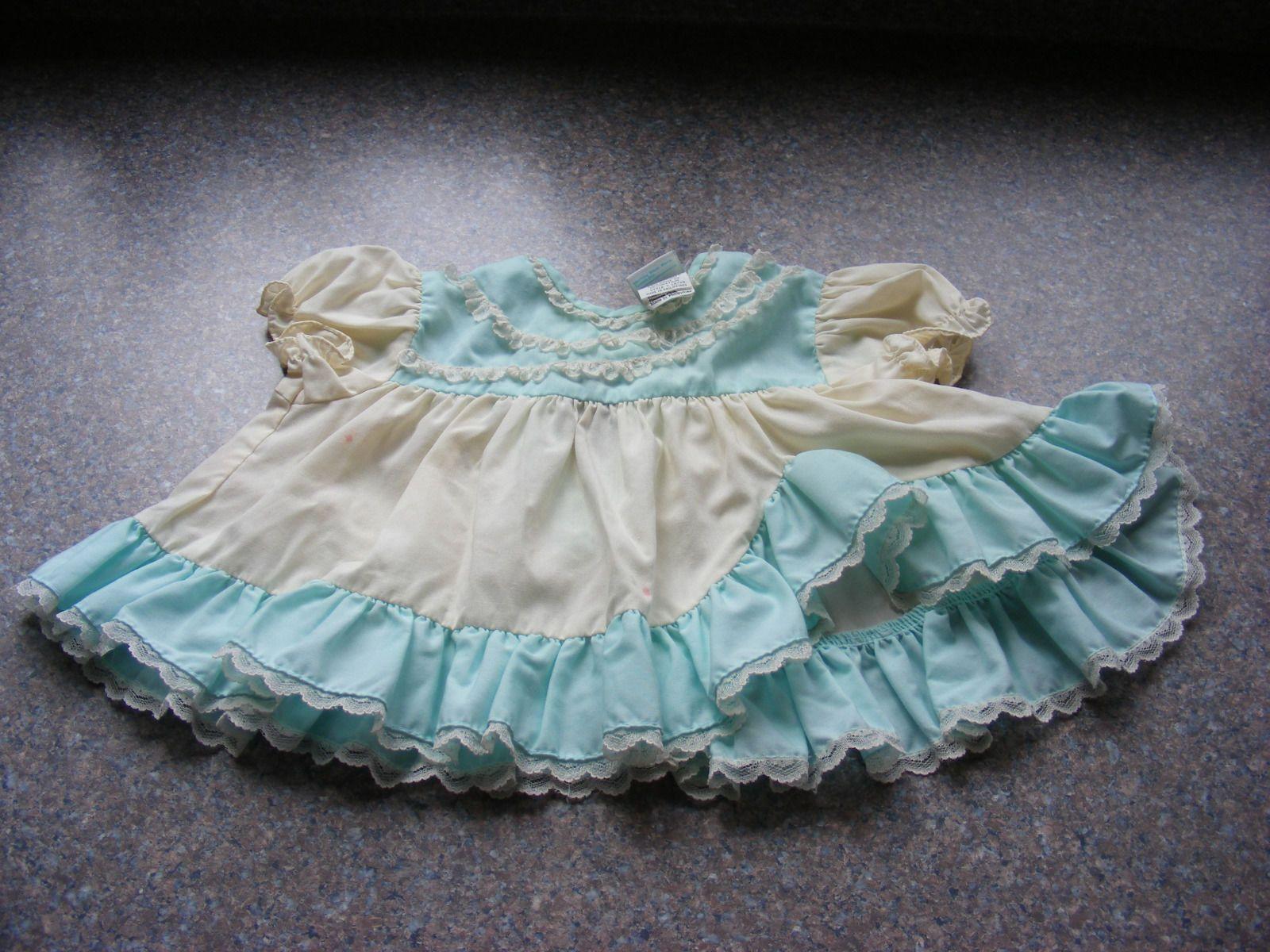 Vintage SET of 3 Blue Baby Girl Smock Tops Nannett Kmart Togs