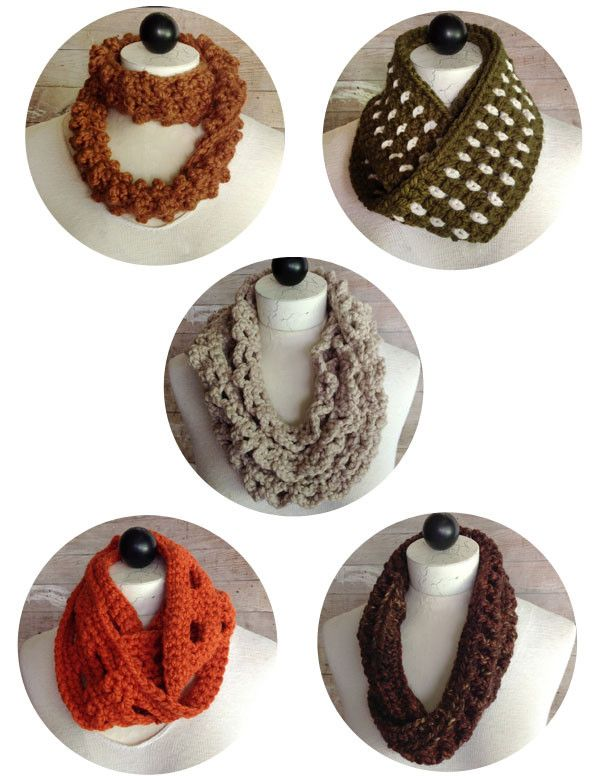 30-Minute Infinity Scarves Set 2 Crochet Pattern | Tejido, Ganchillo ...