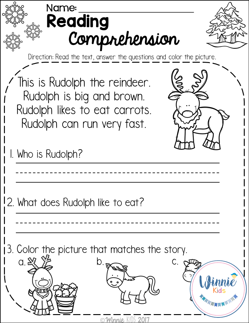 Workbooks reading comprehension worksheets for preschool : Kindergarten Reading Comprehension Passages - Winter