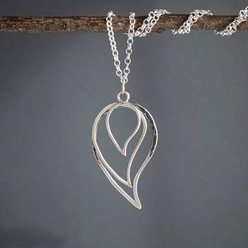 layered silver leaf necklace
