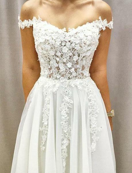 Schöne weiße Hochzeit Party Kleider von der Schulter mit Applikationen – Dress