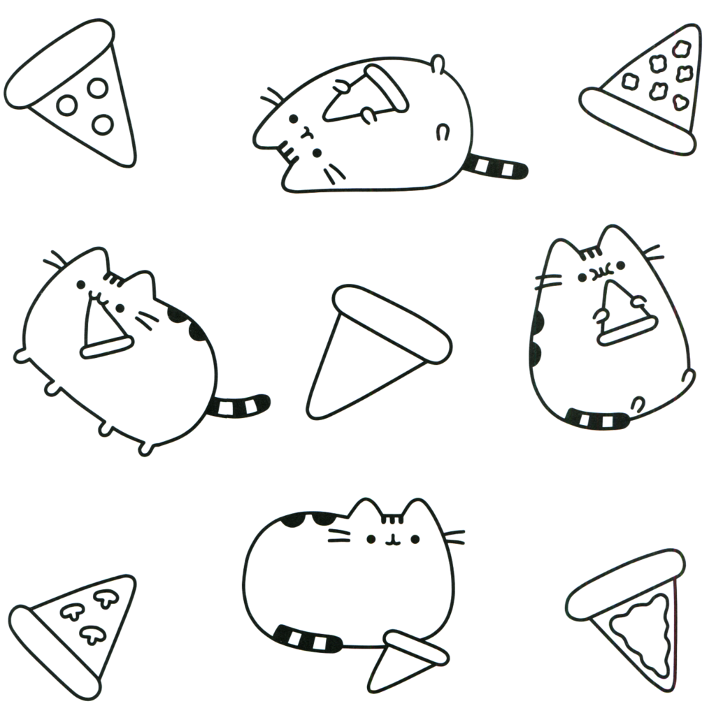 pusheen pizza coloring pages