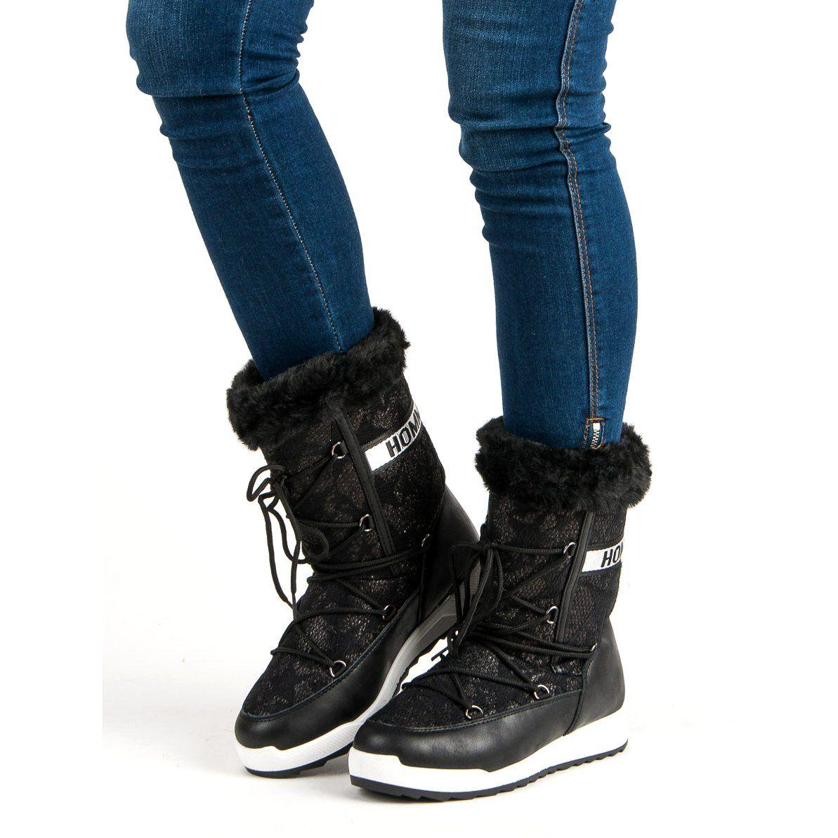 Wysokie Sniegowce Czarne Boots Winter Boot Shoes