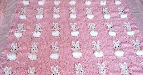 Patrón para tejer manta con figura de conejito a crochet o ganchillo ...