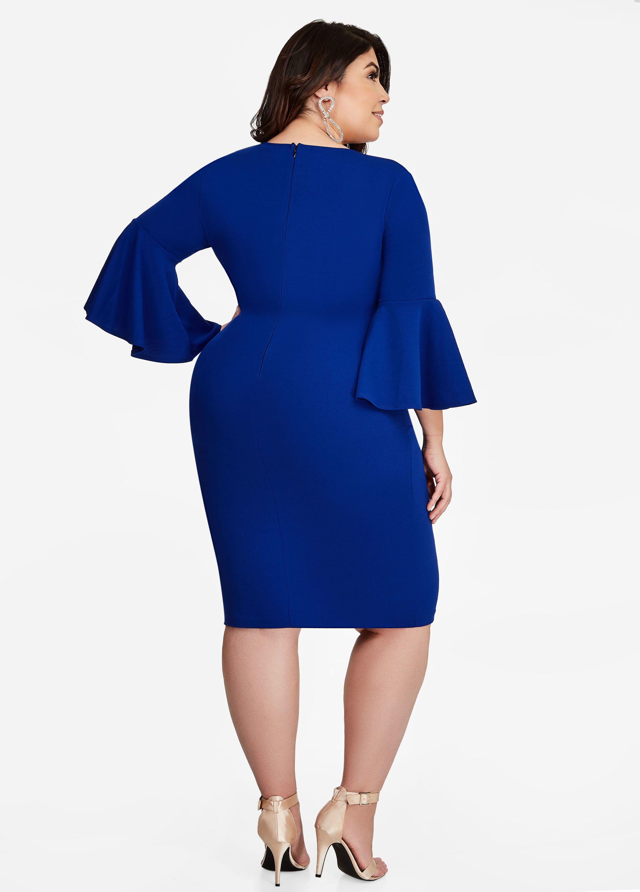 97dca19c7602f V Neck Bell Sleeve Sheath Dress - Ashley Stewart