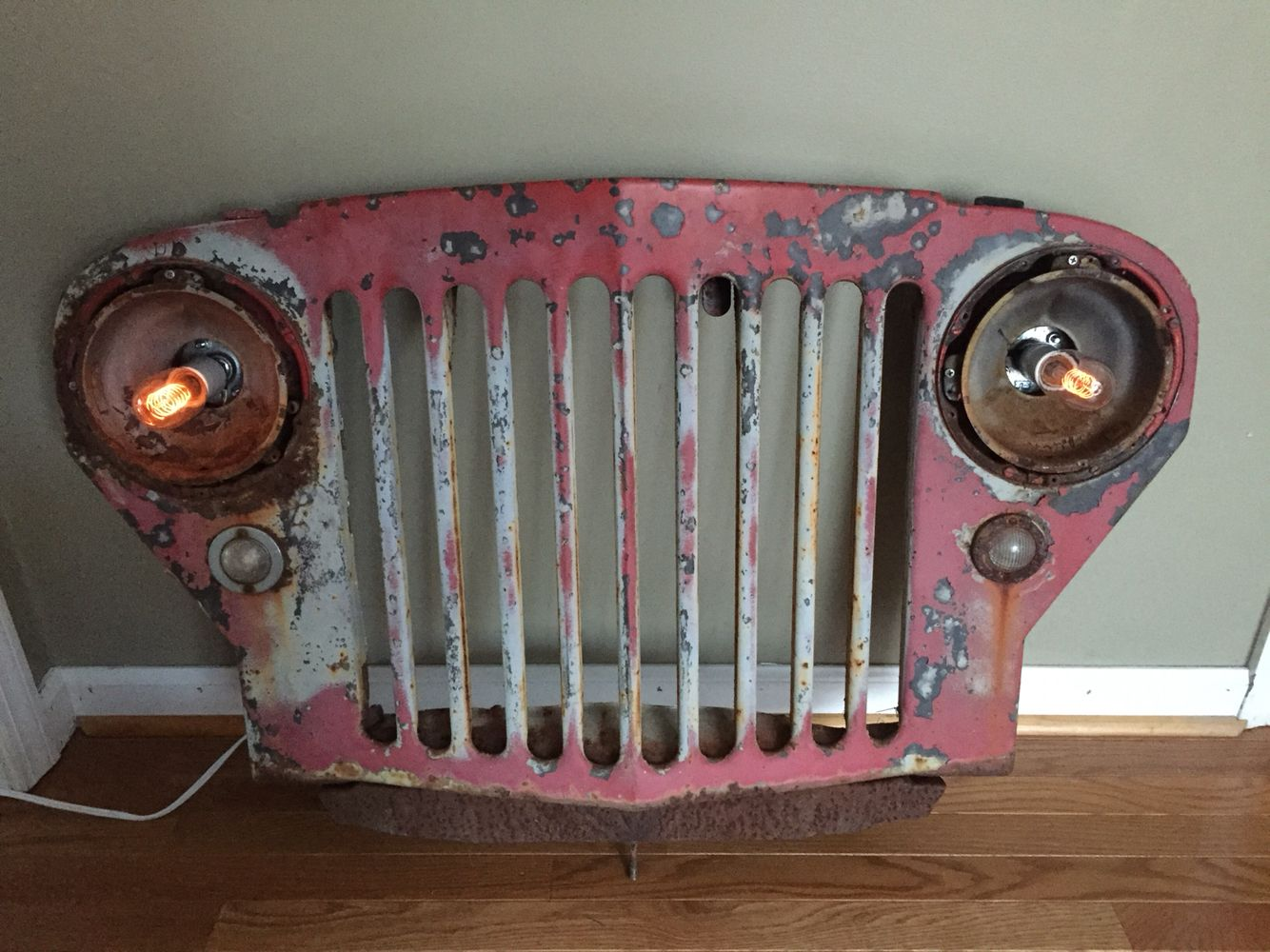 Vintage Willys Jeep Truck Grill With Edison Bulbs To Hang
