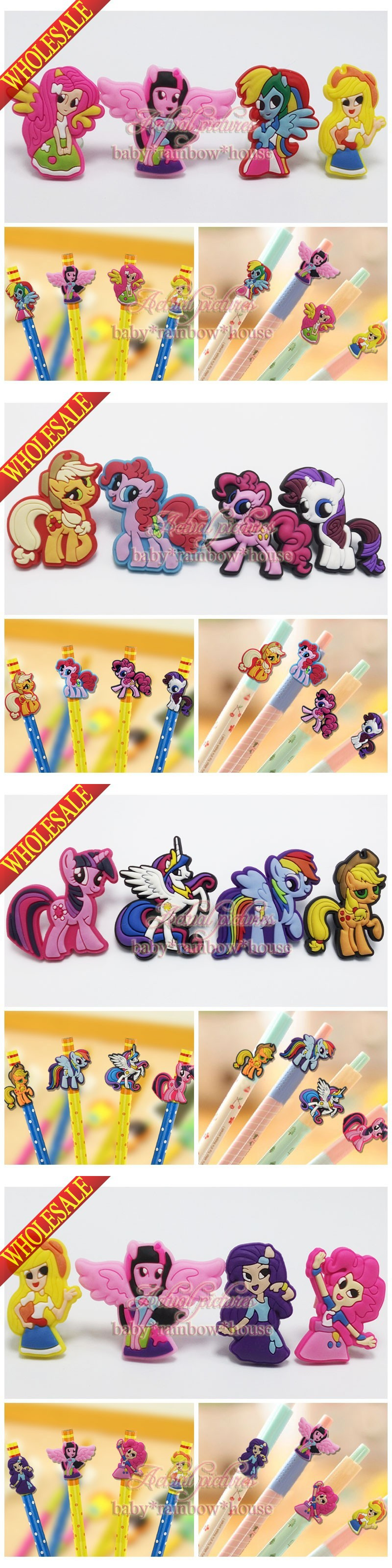 100pcs My Little Ponies Pencil topper pencil cap case School office Stationery Kids Party Gifts $22