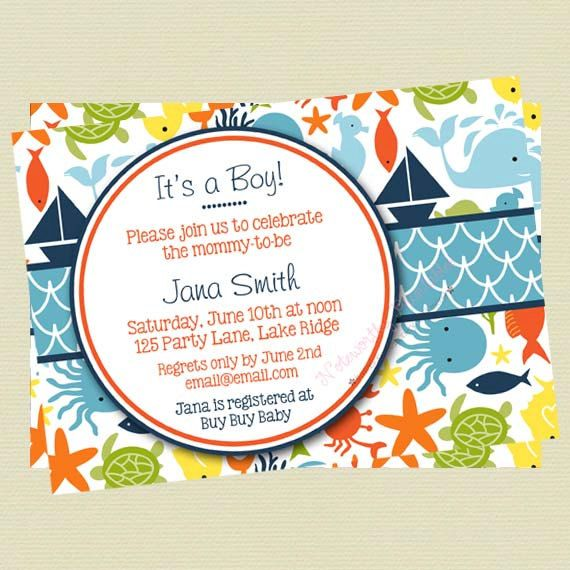 under the sea baby shower invitations - sea creature baby shower, Baby shower invitations