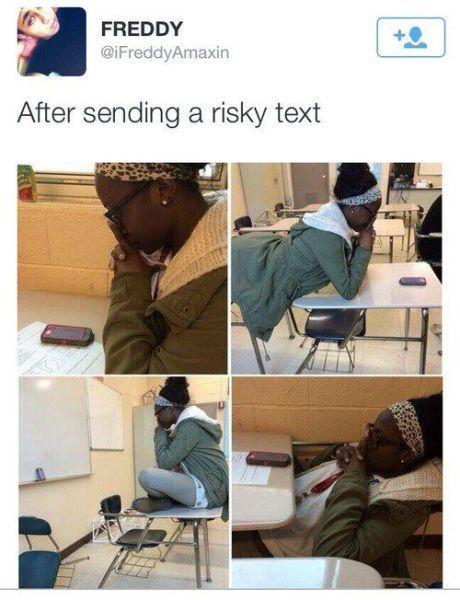 40e84ad01d649a8fe6f0d87b551f66d4 after sending a risky text nowaygirl humor pinterest texts