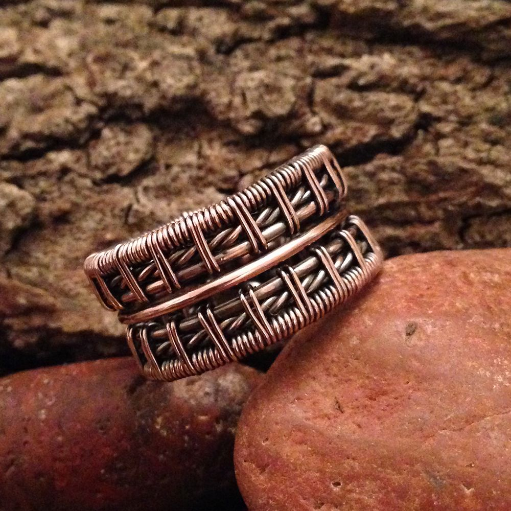 Wide Double Band Twisted Men\'s Ring by Falstaf on www.jewelrylessons ...