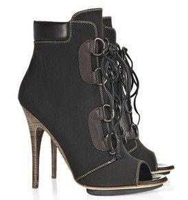 Giuseppe Zanotti Leather and canvas peep-toe ankle boots