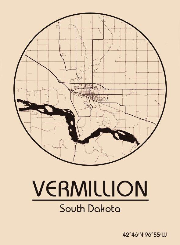 Karte / Map ~ Vermillion, South Dakota - Vereinigte Staaten von Amerika / United States of America / USA
