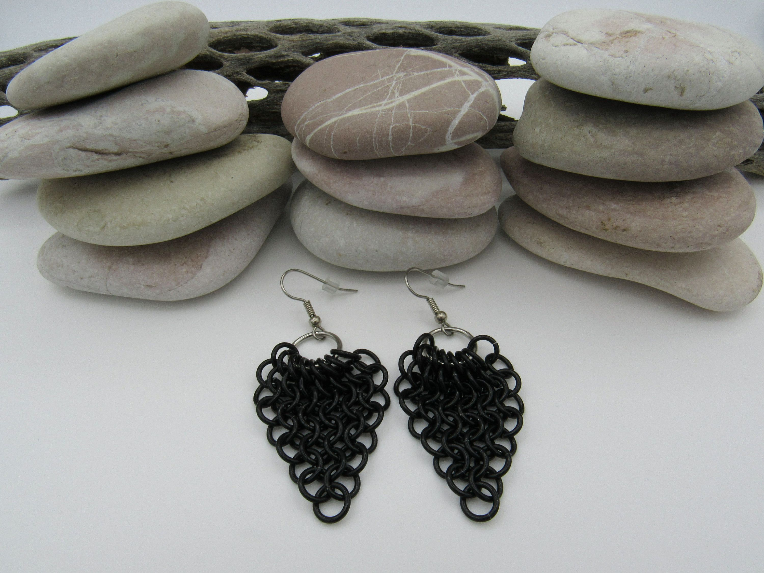 Black chainmail earrings, 10 year anniversary gift for her