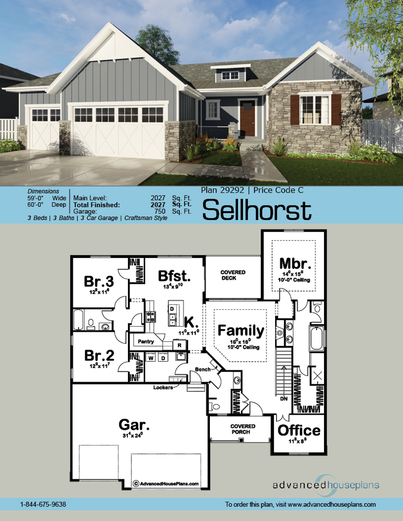 1 Story Craftsman House Plan Sellhorst Craftsman Floor Plans Craftsman Home Exterior Craftsman House