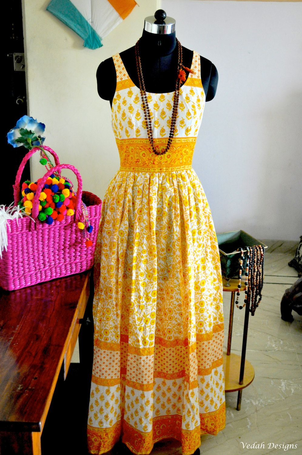 03e8c2eecf Yellow floral trendy Tunic long Maxi Boho chic Indian handmade cotton Tunic  dress by VedahDesigns on Etsy