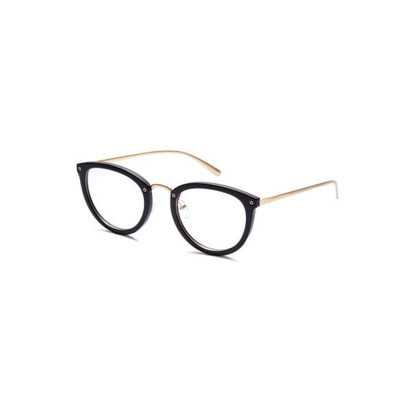 9dc7fcdd5db SheIn(sheinside) Shiny Black Frame Gold Arm Glasses (€8