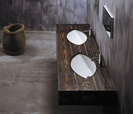 Artceram washbasins like leaves with wooden countertop