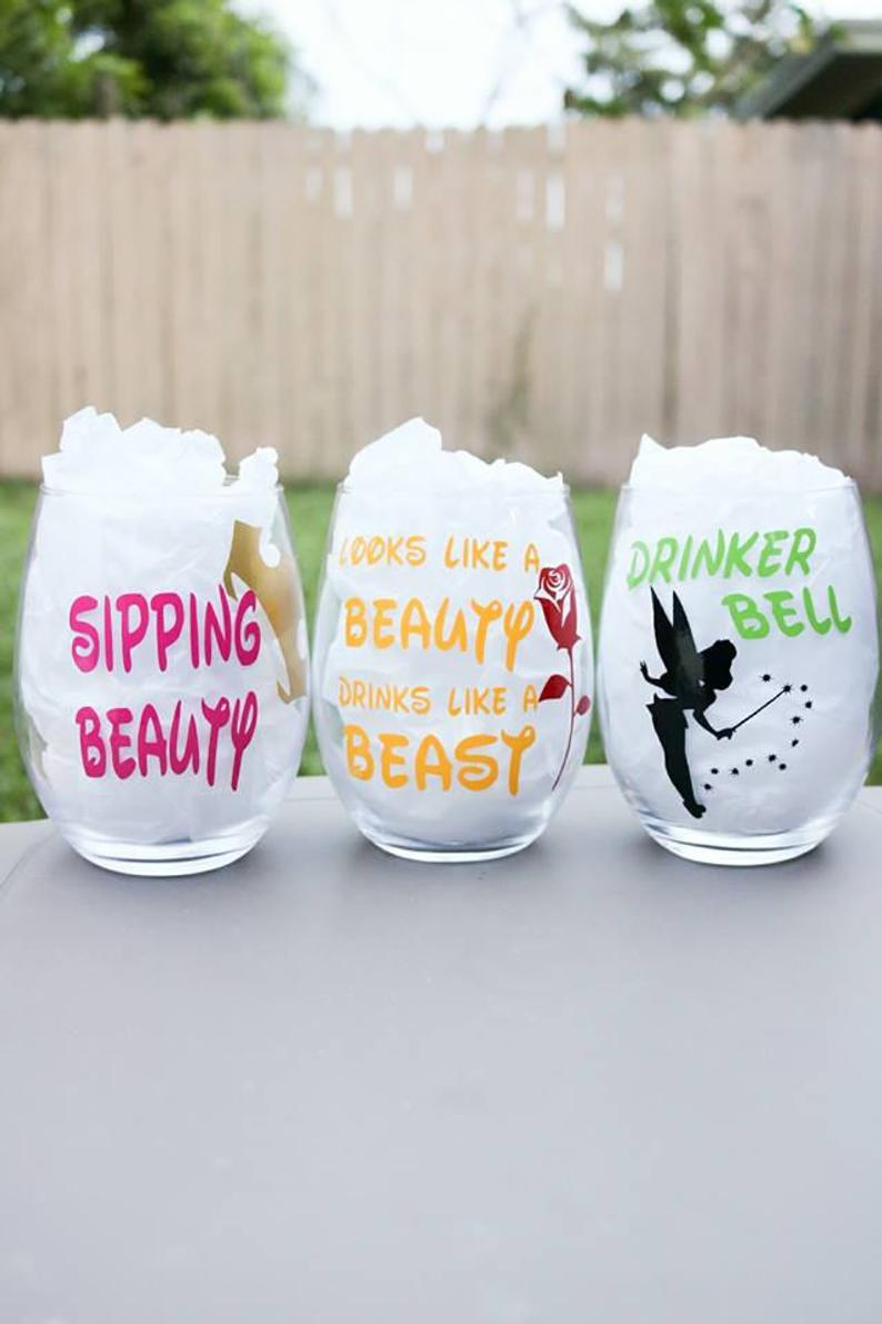 Disney Princess Wine glasses, Tinker Bell, Sleeping Beauty, Beauty and the Beast, Snow White, friend gift, personalized gift, Disney cruise