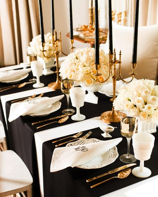 Gold Accents With Black White For A Formal Dinner Wedding Table Settings Gold Table Setting Wedding Table