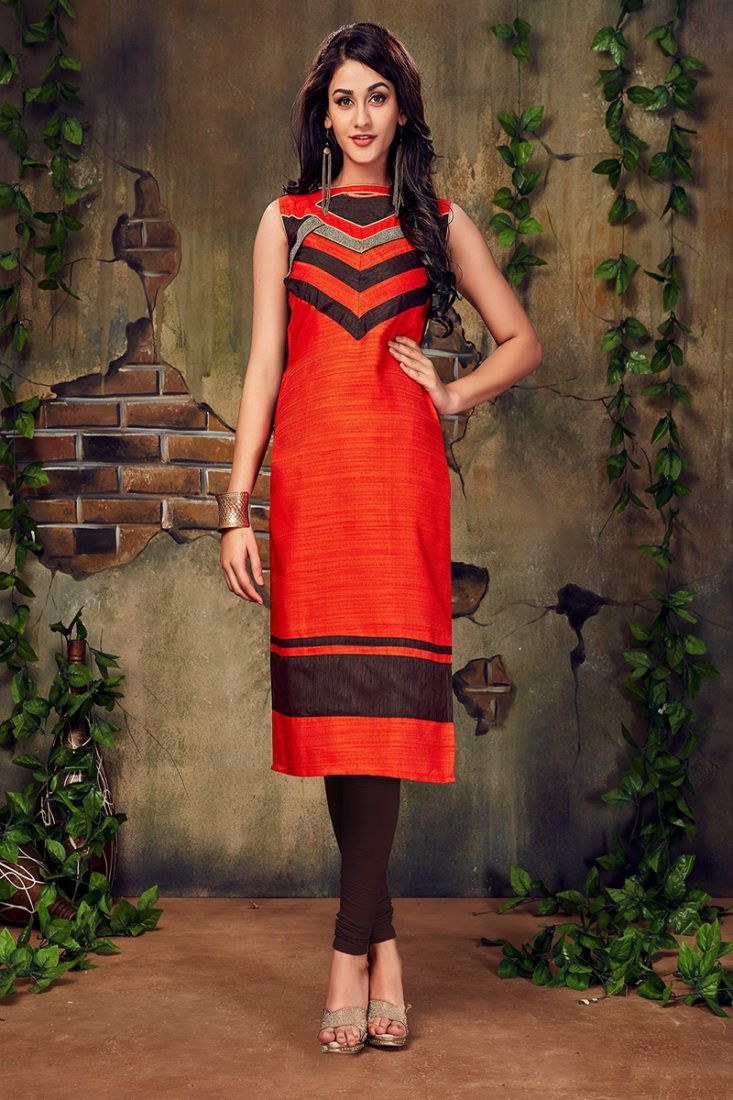 10d0a415a17 Dark Orange Color Lace Border Work Silk Kurti - ClickOnBazar ...