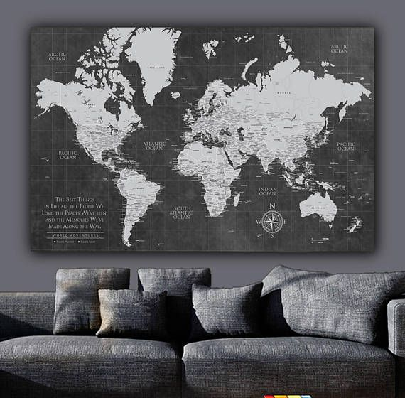 Current push pin world map one panelgallery wrapped art world current push pin world map one panelgallery wrapped art world map canvas gumiabroncs Choice Image